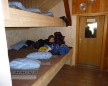 Unsere Plätze im Bettenlager auf der Memminger Hütte